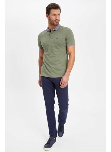 DeFacto Baskılı Slim Fit Polo T-shirt Haki